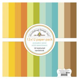 Doodlebug Design Pumpkin Spice Textured Cardstock 12x12 Inch Assortment Pack