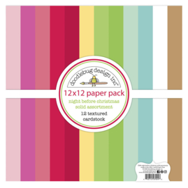 Doodlebug Design Night Before Christmas 12x12 Inch Textured Cardstock Paper Pack