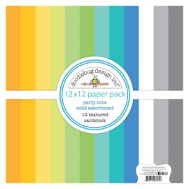 Doodlebug Design Party Time 12x12 Inch Textured Cardstock Paper Pack