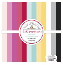 Doodlebug Design Love Notes 12x12 Inch Textured Cardstock Assortment Pack