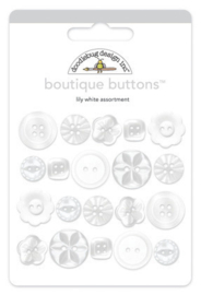 Doodlebug Design Lily White Boutique Buttons