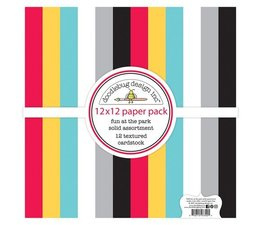 Doodlebug Design Fun at the Park 12x12 inch Textured Cardstock Solid Paper Pack