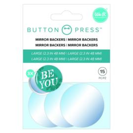 Button press spiegelplaatjes Ø58mm