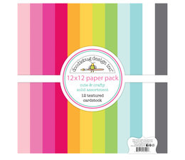 Doodlebug Design Cute & Crafty 12x12 Inch Textured Cardstock Assortment Pack