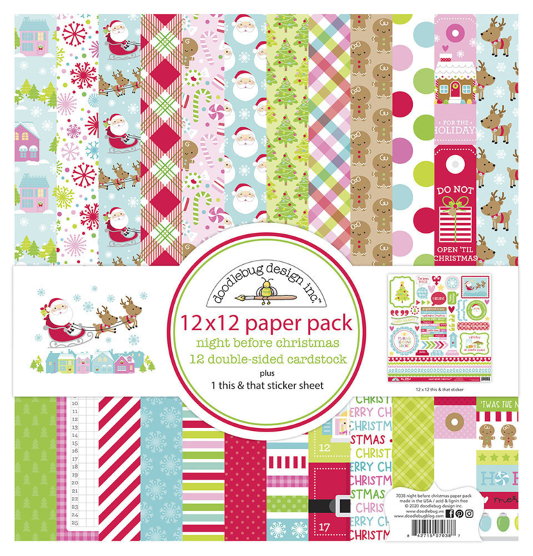 Doodlebug Design Night Before Christmas 12x12 Inch Paper Pack