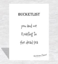 Bucketlist card - floating in the dead sea