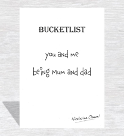 Bucketlist card - being mum and dad