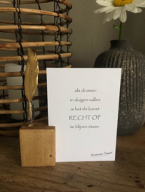 Mini houten kaarthouder met vaasje