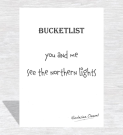 Bucketlist card - see the Northern lights