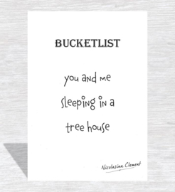 Bucketlist card - sleeping in a treehouse