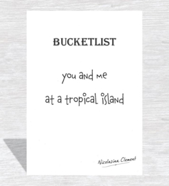 Bucketlist card - at a tropical island