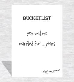 Bucketlist card - married for ... years