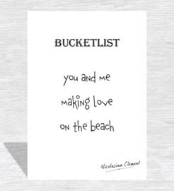 Bucketlist card - making love on the beach