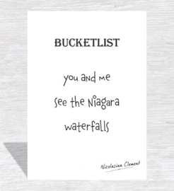 Bucketlist card - see the Niagara waterfalls