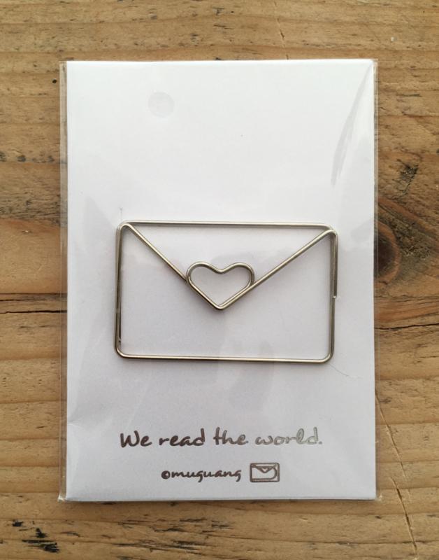 Hippe Paperclip / boeklegger envelop met hartje