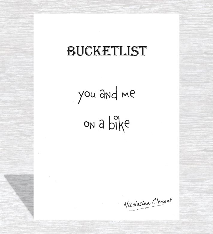 Bucketlist card - on a bike