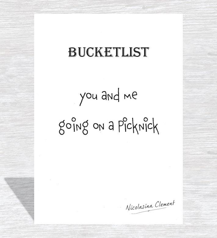 Bucketlist card - going on a picknick