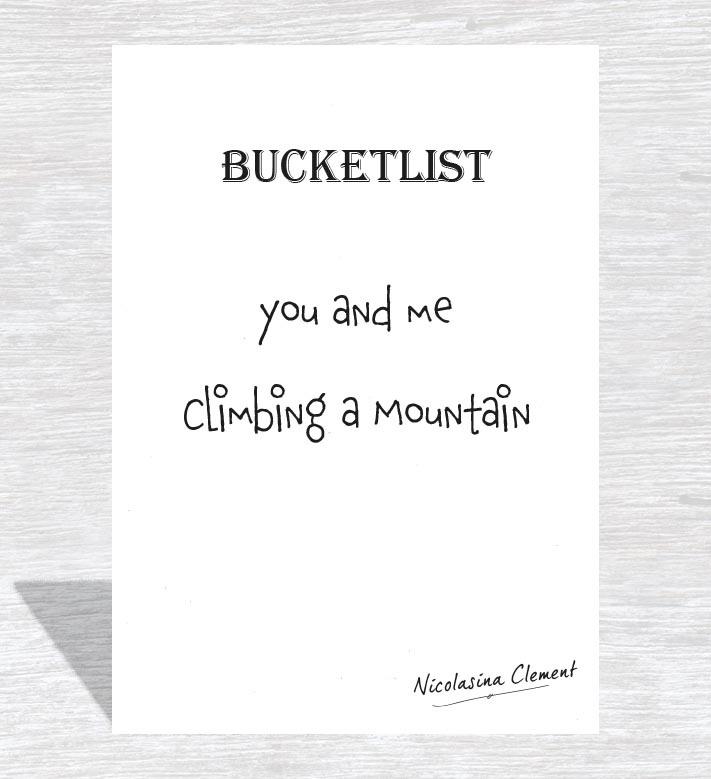 Bucketlist card - climbing a mountain
