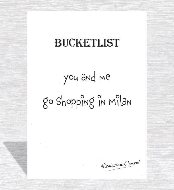 Bucketlist card - go shopping in milan