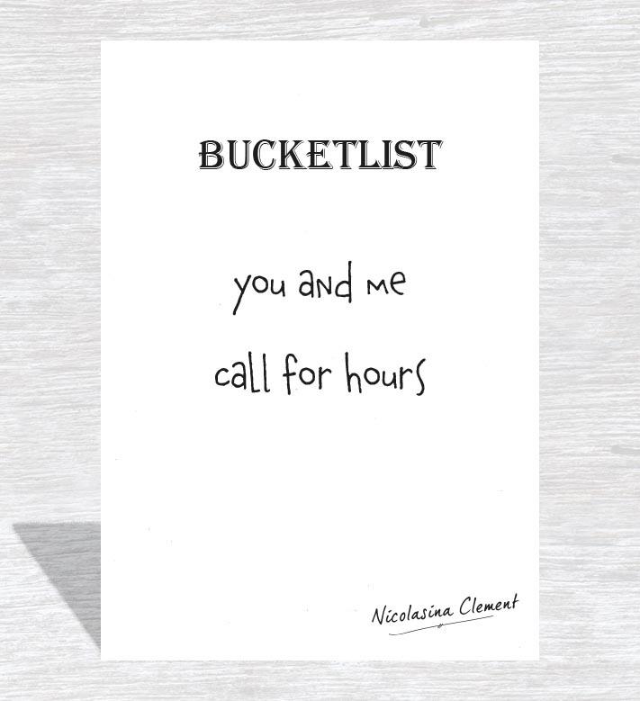 Bucketlist card -  call for hours