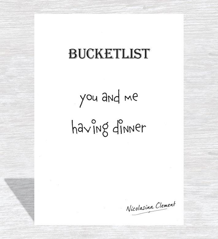 Bucketlist card - having dinner