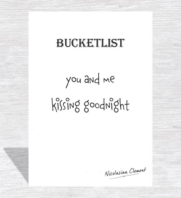 Bucketlist card - kissing goodnight