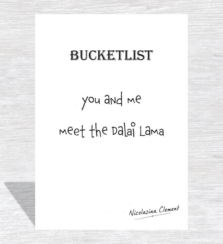Bucketlist card - meet the Dalai Lama