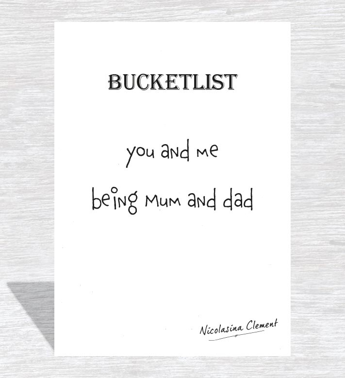 Bucketlist card - being mum and dad