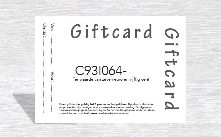 Giftcard 7,50 euro