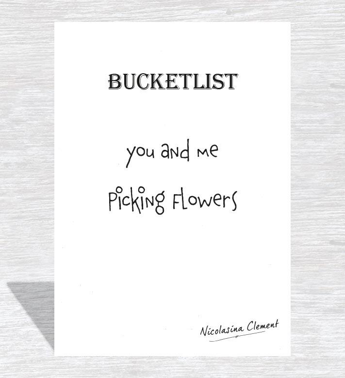 Bucketlist card - picking flowers