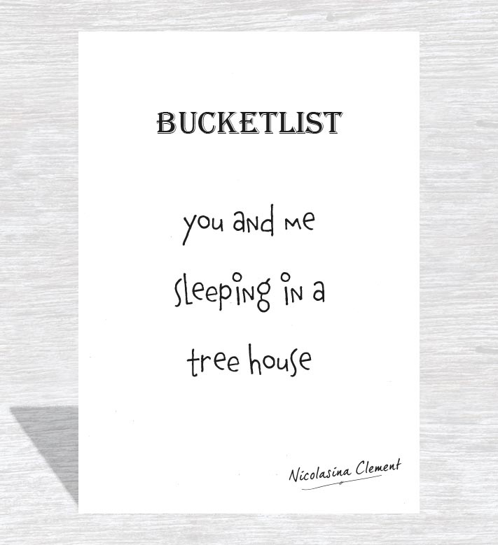 Bucketlist card - sleeping in a treehouse