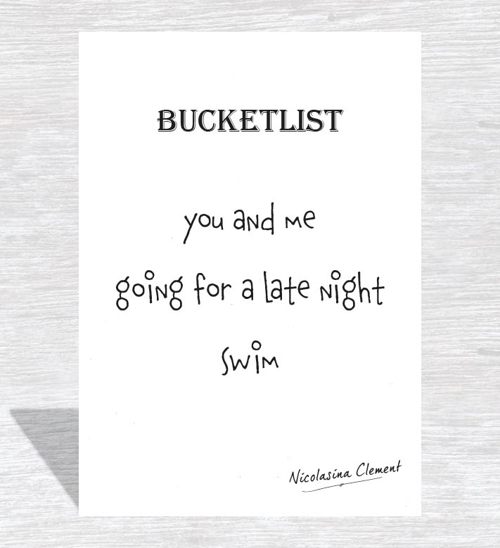 Bucketlist card - go for a late night swim