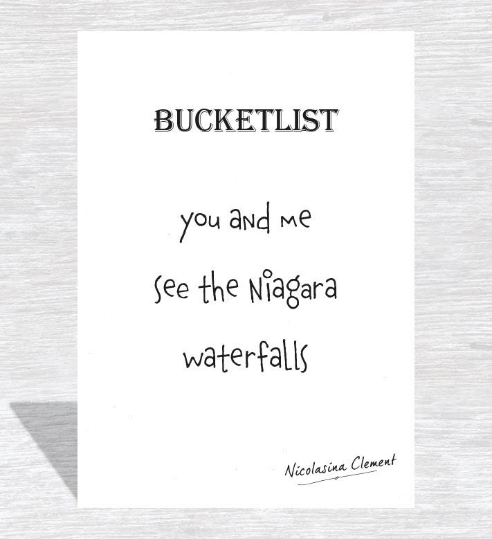 Bucketlist card - see the Niagara waterfalls