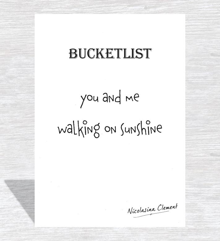 Bucketlist card - walking on sunshine