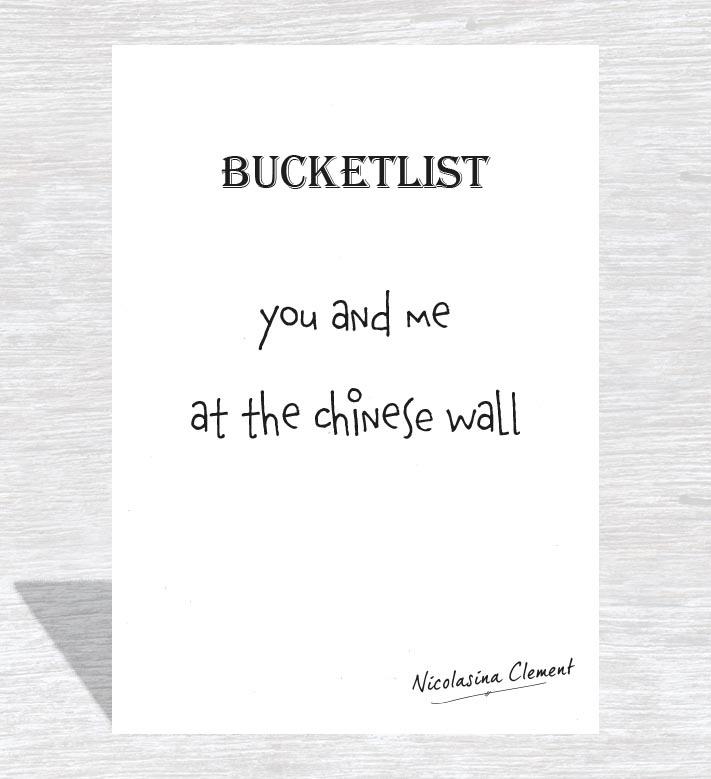Bucketlist card - at the Chinese wall
