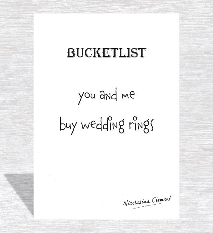 Bucketlist card - buy wedding rings