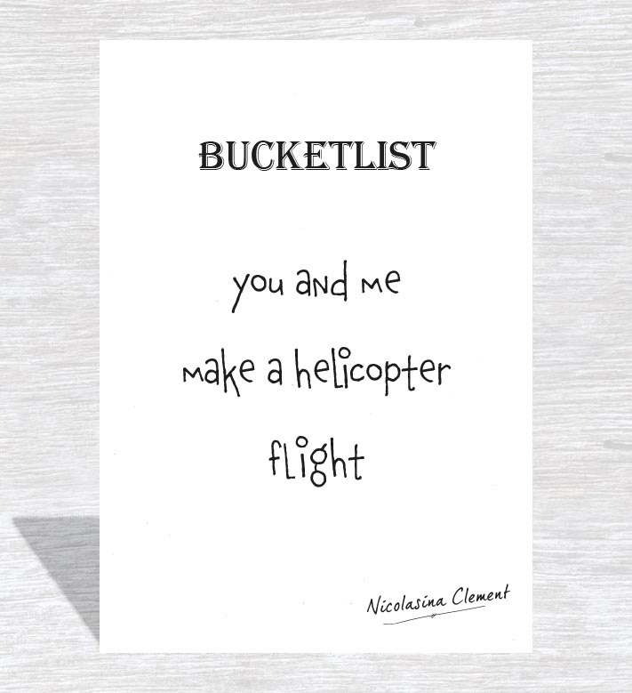 Bucketlist card - make a helicopter flight