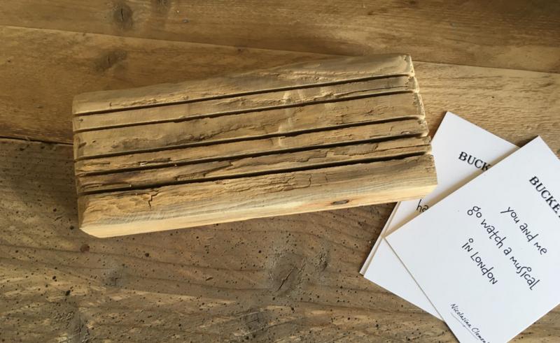 Robuust houten kaarthouder 25x8 cm - nog 1 op voorraad op=op