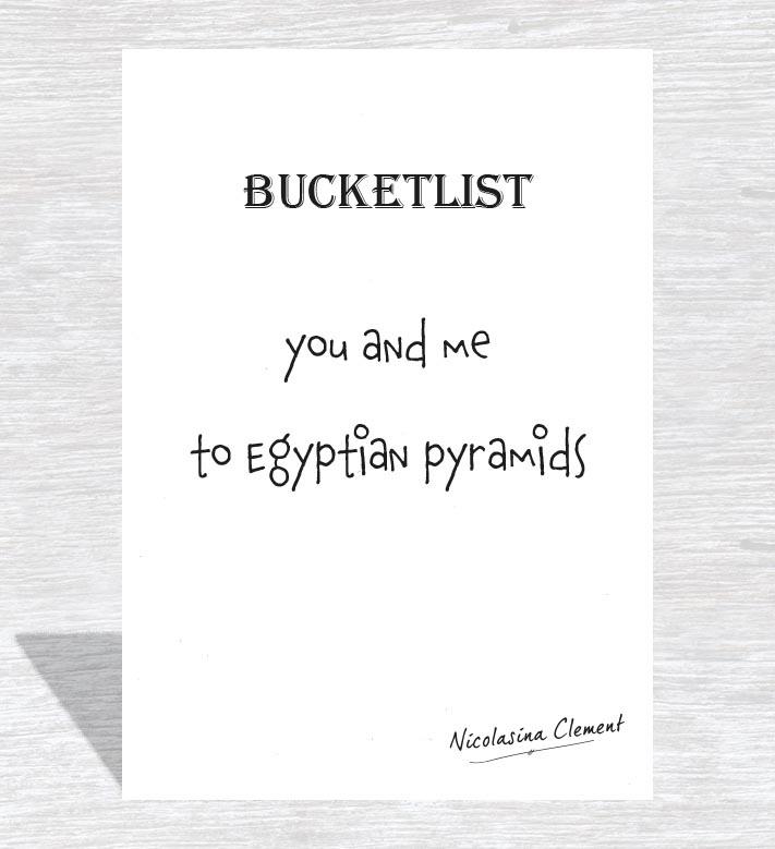 Bucketlist card - to Egyptian pyramids