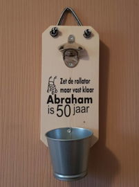 Wand flesopener  Abraham is 50 jaar