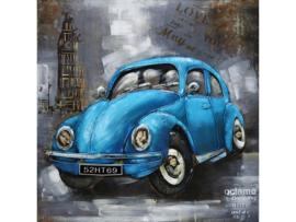 3D Schilderij metaal Blauwe VW Kever