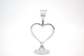 Kandelaar zilver hartvorm