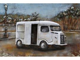 3D Schilderij metaal Franse Bestelwagen wit