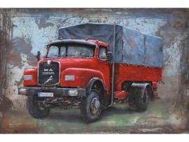 3D Schilderij metaal Rode MAN Truck