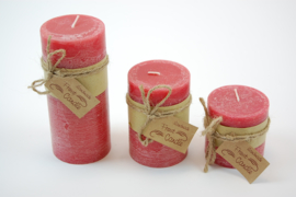 Handmade frost candle rood