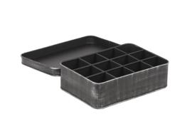 Theebox metaal zwart 27x19x8 cm
