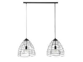 Hanglamp 2-Lichts Ø40 cm wire frame zwart