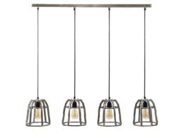 Hanglamp 4-Lichts Ø21 basket conisch Antiek nikkel