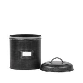 Opbergblik zwart metaal 21,5x21,5x29 cm | XXL