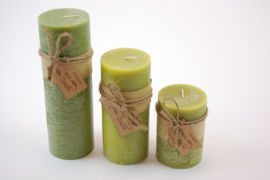 Handmade frost candle groen